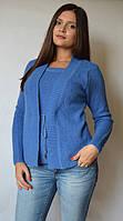 Кофта женская из ангоры (обманка) синяя, 48-54 р-ры
