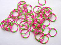 Упаковка резинок для плетения и причесок. 50 штук. Розово-зеленые