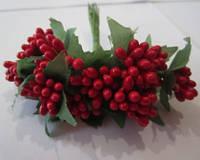 Тычинки для цветочного венка (лещина) красные, букетик из 12 соцветий