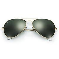 Очки Ray Ban 3025 Aviator Green стекло комплект, копия, фото 1