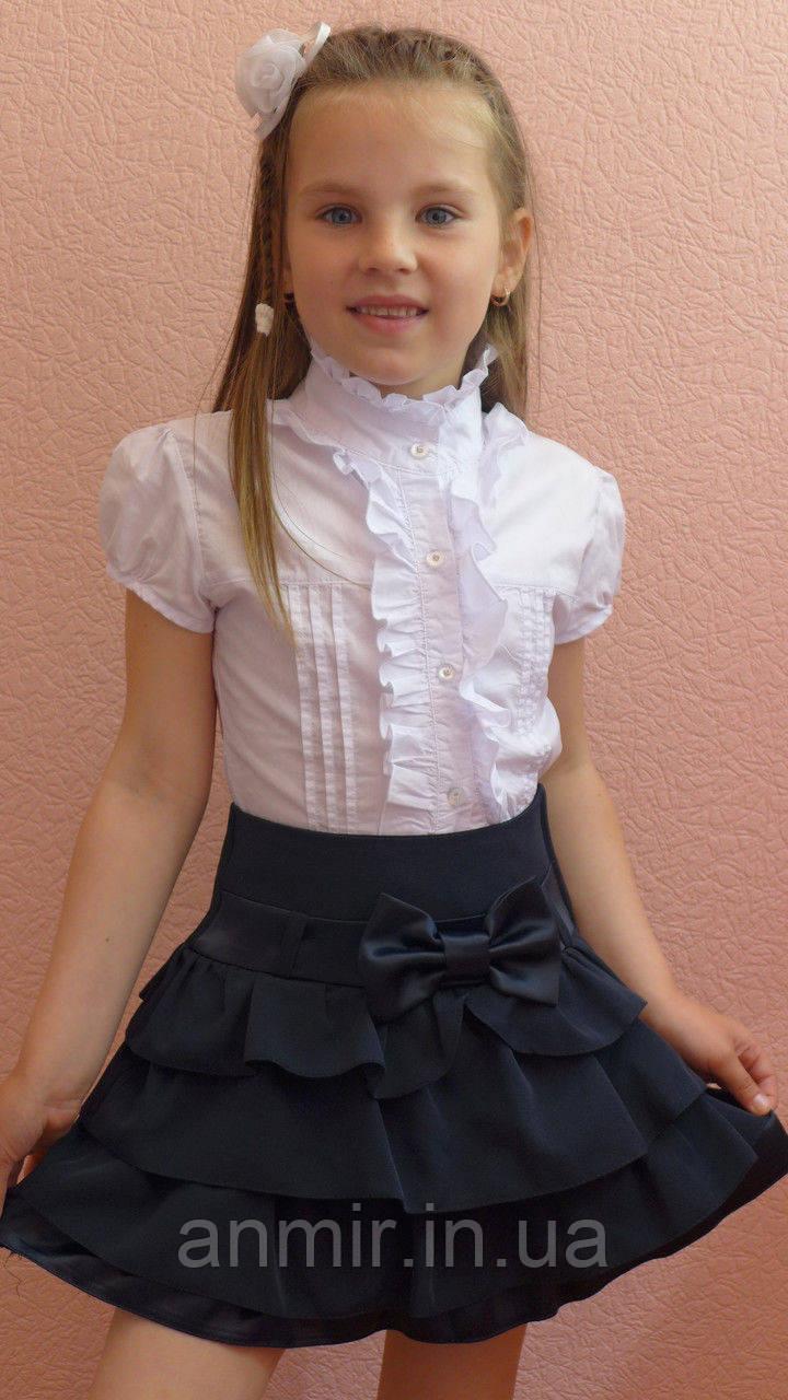 Школьная юбка детская  для девочки 6-10 лет,темно синяя, фото 1