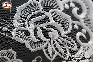 Свадебный шарф с жемчугом Цветочки, фото 3
