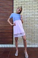 Женское летнее платье из хлопка и трикотажа
