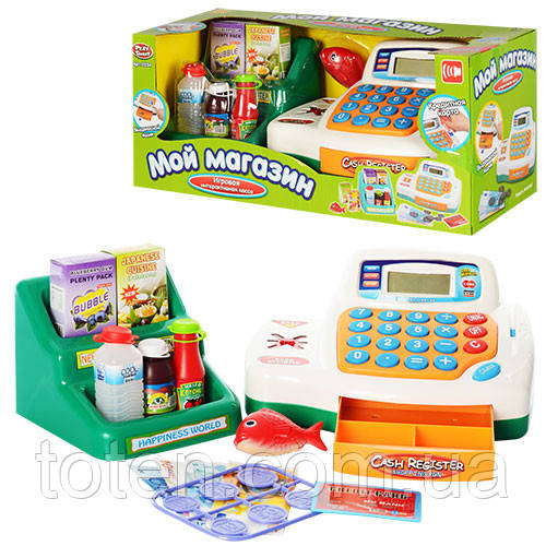 Детский кассовый аппарат 7254 продукты, стойка, на батарейке  Play Smart