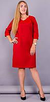 Модное платье супер батал Эвелин красного цвета