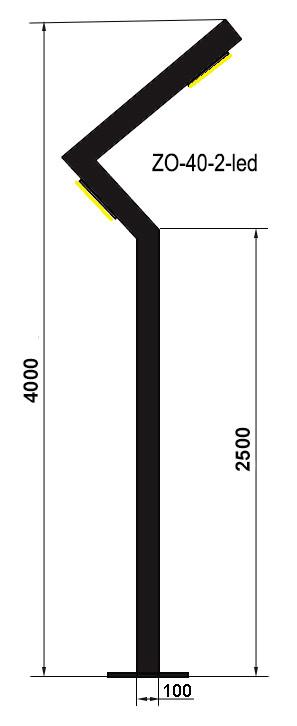 Светодиодная опора освещения ZO-40-2-led с двумя светильниками - КОЛО лтд в Ивано-Франковске