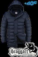 Куртка зимняя мужская на меху удлиненная Braggart Aggressive - 4672M темно-синяя