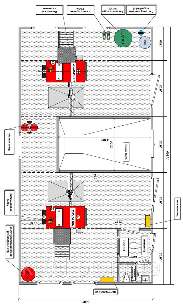 Схема размещения оборудования в пеллетной котельной с бункером Eurotherm 200 квт