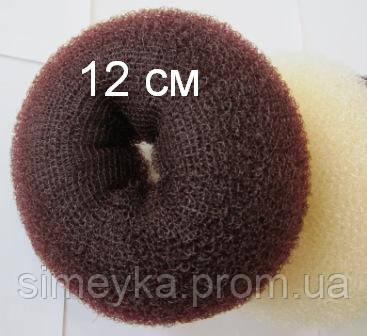 Бублик Hair Bun большой (XL) для гульки, пучка. Диаметр 12 см. Коричневый. Причёска для бальных танцев.