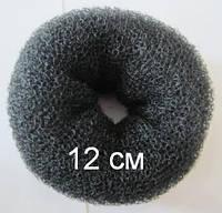 Бублик Hair Bun большой (XL) для гульки, пучка. Диаметр 12 см. Черный. Причёска для бальных танцев., фото 1