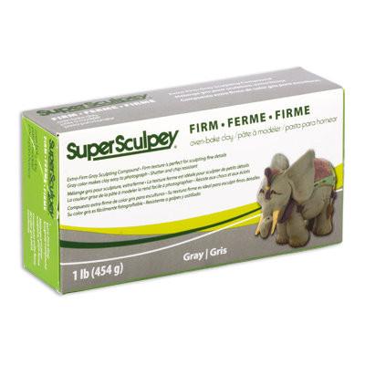 Полимерная глина Super Sculpey Firm  СуперСкалпи, цвет - серый, 454г