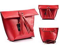 Красная кожана сумка 1388