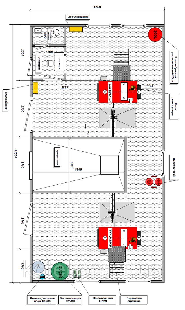 Схема размещения оборудования в пеллетной котельной с бункером Eurotherm 600 квт