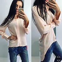 Рубашка Женская Фрак Лёгкая Блузка Пудрового цвета