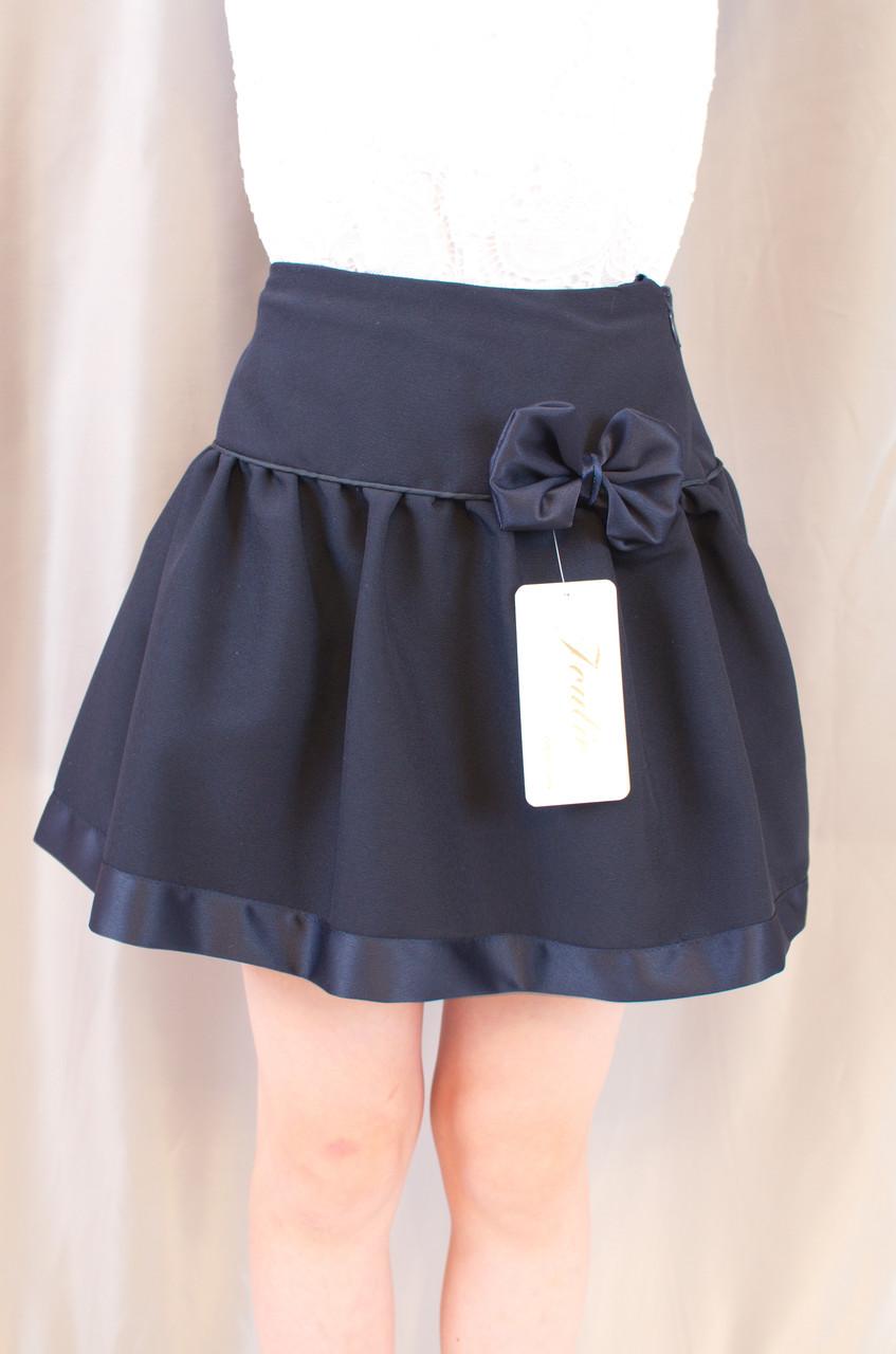 Красивая школьная юбка с бантиком на девочку, синяя.