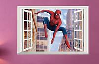 Наклейка виниловая Пейзаж Человек-паук 3D декор