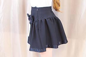 Красивая школьная юбка с бантиком на девочку, синяя., фото 2