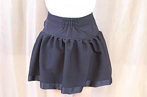 Красивая школьная юбка с бантиком на девочку, синяя., фото 3