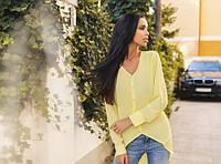 Блузка женская жёлтая ассиметрическая ВВ/-58