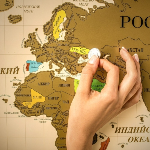 Scratch map: настенная скретч - карта в подарочном тубусе  на русском языке