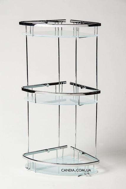 Полочка для ванной угловая из латуни тройная овальная со стеклом 22 x 22 см