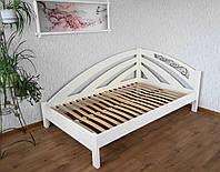 """Белая полуторная кровать """"Радуга"""" массив - сосна, ольха, дуб."""