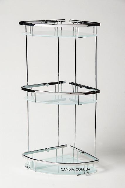 Полочка в ванную угловая из латуни тройная с тонированным стеклом 22 x 22 см