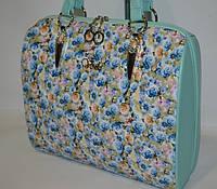 Женская сумка  Voila (Вуаля),  голубая с цветами, фото 1