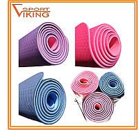 Коврик для йоги TPE Йога мат (1,86 м х 0,63 м х 6 мм)