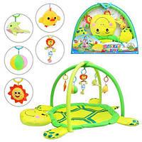 Детский развивающий коврик для младенца Черепашка с мягкими дугами, 5 игрушек