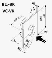 Габариты (размеры) канального центробежного вентилятора Вентс ВЦ-ВК 100