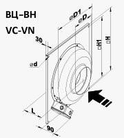 Габариты (размеры) канального центробежного вентилятора Вентс ВЦ ВН 125