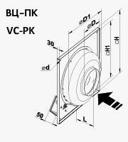 Габариты (размеры) канального центробежного вентилятора Вентс ВЦ-ПК 250
