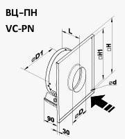 Габариты (размеры) канального центробежного вентилятора Вентс ВЦ-ПН 100