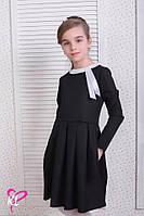 Школьное платье для девочки с длинным рукавом черное