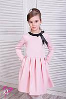 Школьное платье для девочки с длинным рукавом розовое