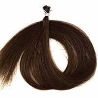 Славянские волосы на капсулах 60 см. Цвет #Каштановый