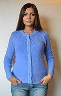 Кофта женская из ангоры с пуговичками и бусинами голубо-синяя, 44-50 р-ры