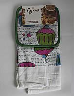 Набор для кухни Моя Кухня, комплект: прихватка 17х17 см, полотенце 37х62 см, дизайн Мафин