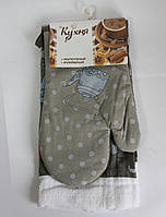 Набор для кухни Моя Кухня, комплект: рукавица 16х26 см, полотенце 37х62 см, дизайн Чай