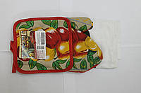 Набор для кухни Любимый дом, комплект: рукавица 16х26 см, прихватка 17х17 см, дизайн Яблоко