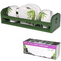 Набор для соли и перца с салфеток Зеленый бамбук 23*9см