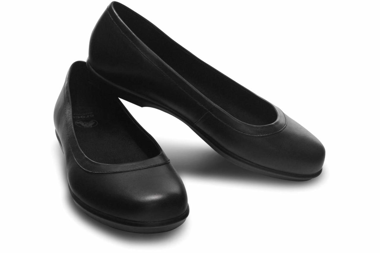 Туфли женские балетки Кроксы из натуральной кожи / Crocs Women's Grace Flat (12121), Черные
