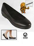 Туфли женские балетки Кроксы из натуральной кожи / Crocs Women's Grace Flat (12121), Черные, фото 6