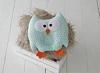 """Детская подушка-игрушка для новорожденных """"Совушка"""" мятная в цветной горошек, фото 1"""