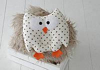 """Детская подушка-игрушка для новорожденных """"Совушка"""" коричневые звезды, фото 1"""