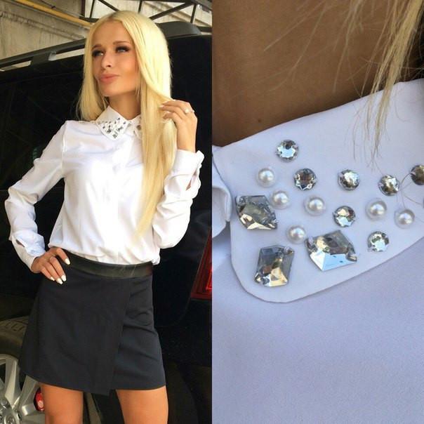 048520a881d Рубашка женская белая камнями D -Р 1384 - Dress Up -интернет магазин