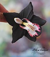"""Заколка цветок """"Чёрная орхидея"""". Авторские украшения из полимерной глины, фото 1"""