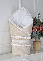 Конверт-одеяло на выписку Нежность (бежевое) Деми, фото 1