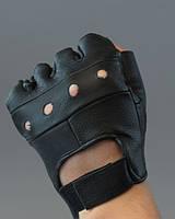 Перчатки спортивные вело мото кожаные без пальцев. Размер L